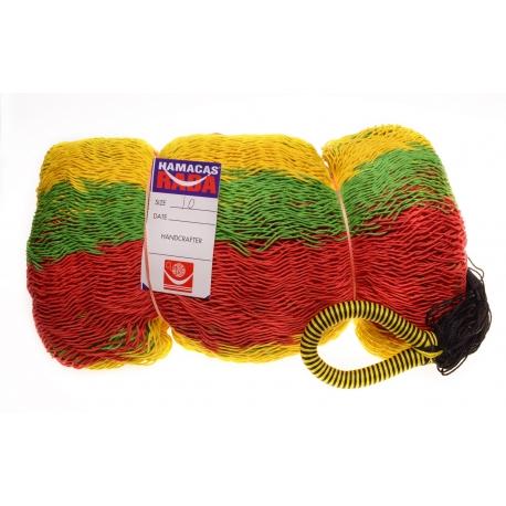 Hamaka / houpací síť RASTA (žluto-zeleno-červená), pruhy