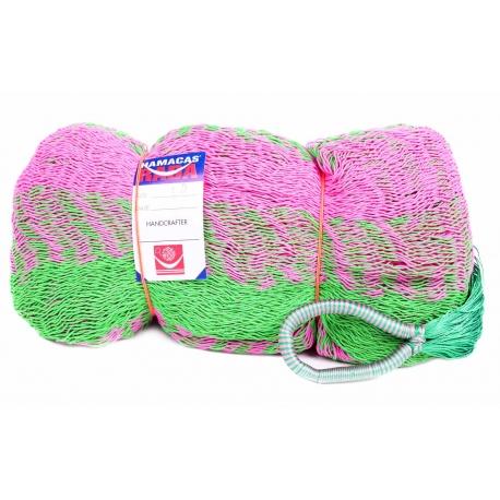 Hamaka/houpací síť MAYA, zeleno-růžová, kombinovaná